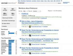 firstmover   Social Mention search